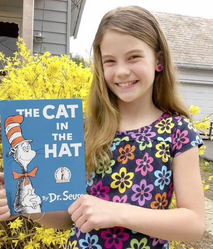 Trinity Kite, 9 years old, of Slatington, has enjoyed reading Dr. Seuss because it rhymes words and is exciting.