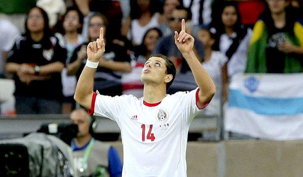 "Mexico's Javier ""Chicharito"" Hernandez points to the sky after scoring his first of two goals against the Japan team during their FIFA Confederations Cup matchup on Saturday."