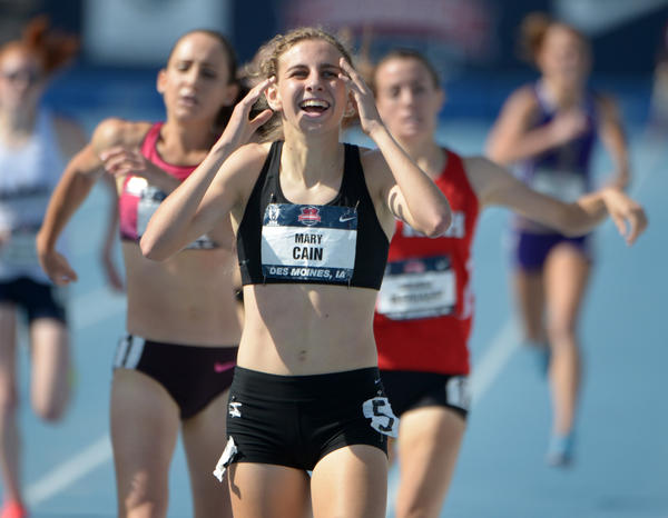 Mary Cain celebrates after finishing second in the women's 1,500m in 4:28.76 in the 2013 USA Championships at Drake Stadium.