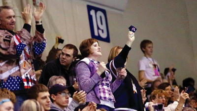 Fans cheer at a game during the Tomahawks inaugural season in Johnstown.