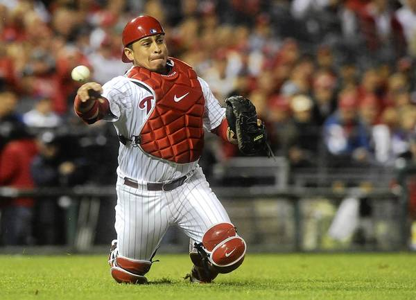 Phillies' catcher Carlos Ruiz (51) makes on throw on October 7, 2011.