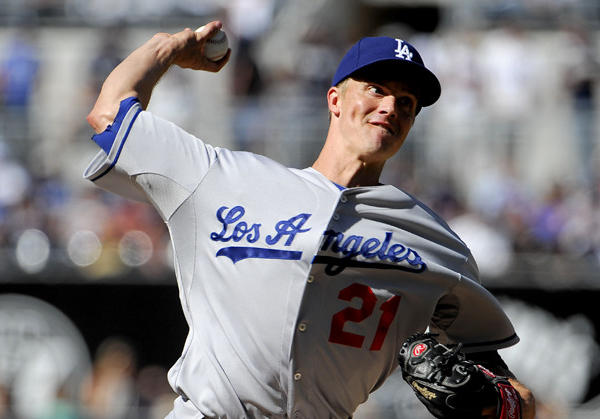 Dodgers starter Zack Greinke pitches during the first inning against the San Diego Padres at Petco Park on Saturday.