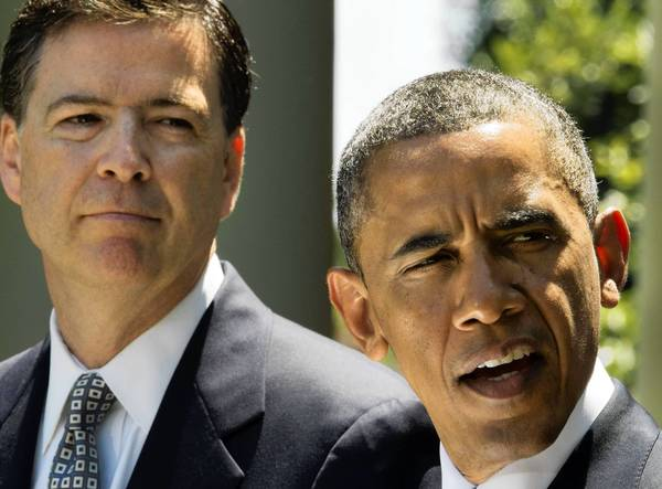 President Obama with FBI nominee Jim Comey. Liberal activists are showing irritation at Obama's willingness to condone domestic surveillance programs to combat terrorism.