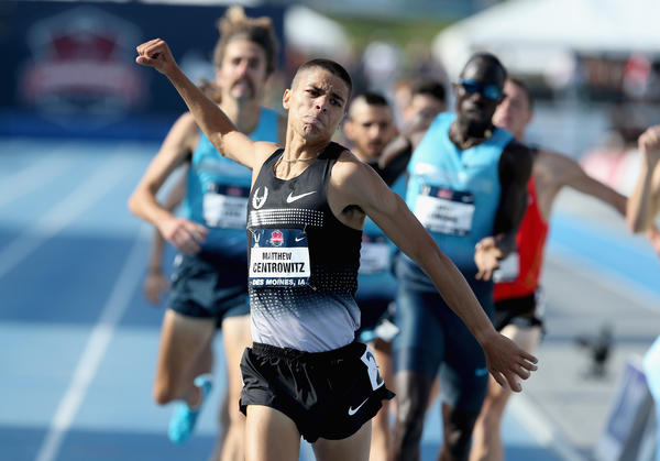 DES MOINES, Iowa - Matthew Centrowitz celebrates after winning the men's 1,500 meters at the USA Outdoor Track & Field Championships at Drake Stadium on June 22, 2013 in Des Moines, Iowa