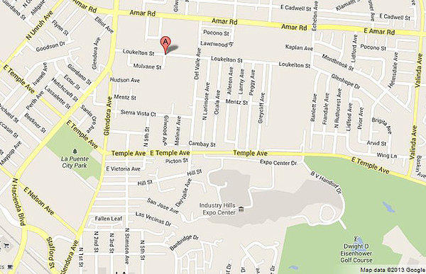 Map shows location of a deputy-involved shooting in La Puente.