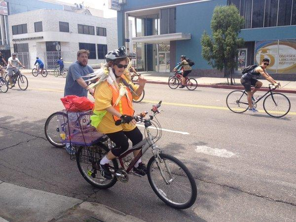Les Golan and her cockatiels enjoy CicLAvia.