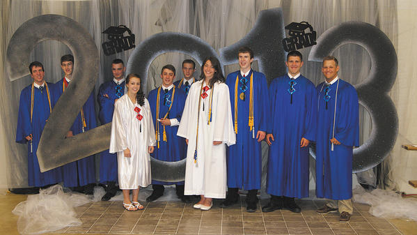 The Heritage Academy Class of 2013: Stephen Fultz, Zachary Muller, Adam Long, Emily Hanlin, Collin Poyle, Bryce Nigh, Kara Stamper, Tristan Prejean, Benjamin Cosner and Jonathon Kriner.