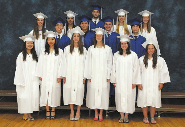 The Class of 2013 includes, front row from left, Yuanhua (Emily) Zhang, Subin Hong, Caitlin Cox, Marley Weagly, Keshia Harney and Hanna Eby. Middle row, Wenxin (Gary) Gao, Yunsik (Joe) Kim, Camryn Steward and Donghoon (Tony) Hahn. Back row, Rebecca House, Nafisa Adil, Anthony Jacques, Courtney Twigg and Jessica Gladhill.