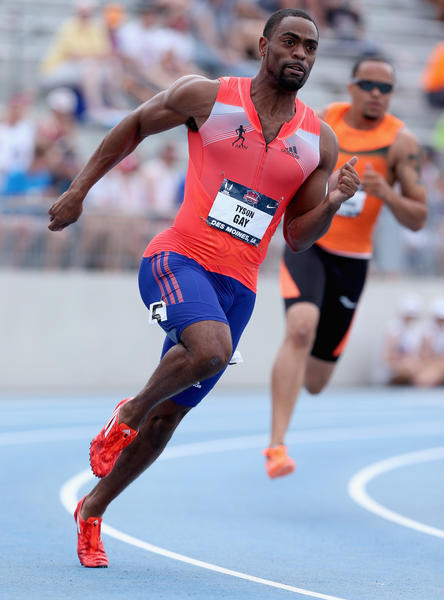 Tyson Gay runs to victory in the 200 meters at Drake Stadium in Des Moines, Iowa.