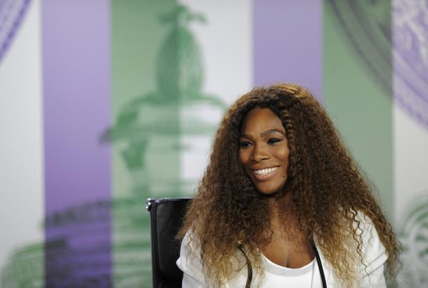 Serena Williams speaks at a news conference the day before the start of Wimbledon.