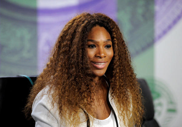 Serena Williams talks to the media during previews at Wimbledon.