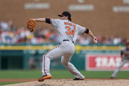 It probably isn't a sign of rotational stability that the Orioles used six different starters in their past six games. Jake Arrieta (pictured) was an emergency fill-in last Monday night and gave up five earned runs over 4 2/3 innings before being optioned back to Norfolk. Zach Britton stepped up with a solid 5 1/3 innings against the Tigers to help the O's win that the first series of the week. But things got ugly over the weekend after the O's blew a late inning lead Friday and were swept by the Jays. Here's the week in a nutshell: Orioles starters gave up 23 earned runs in 30 1/3 innings, which works out to a 6.82 ERA. No wonder they went 2-4 on the trip. <br><br> <b>Grade</b>: D+