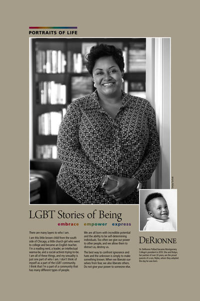 Dr. DeRionne Pollard, who became president of Montgomery College in 2010, is featured along with others in the college's new exhibit in Baltimore on LGBT lives.