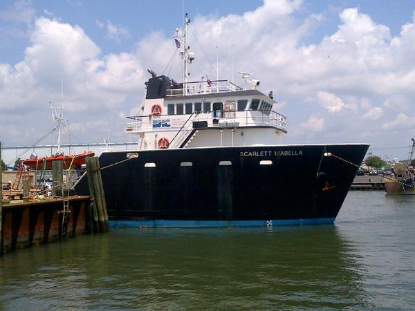 The Scarlett Isabella, seen here at dock in Ocean City, was to shove off Monday night for a 30- to 40-day cruise conducting a geophysical survey of the sea floor off Maryland's coast.