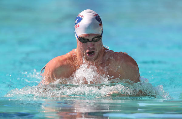 Kevin Cordes swims the 100m breaststroke during Day Four of the Santa Clara International Grand Prix at the George F. Haines International Swim Center.