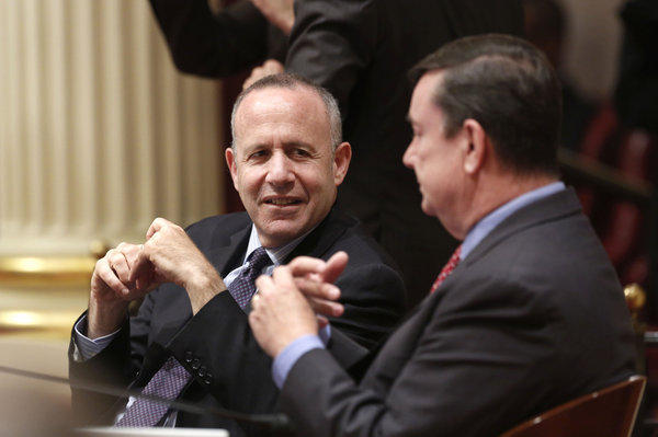 Senate leader Darrell Steinberg, left.