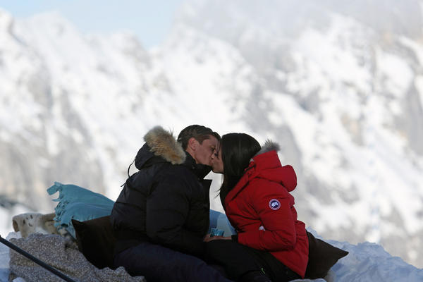 Drew (left) and Desiree share a kiss in Germany.