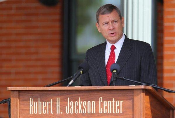Chief Justice John G. Roberts Jr. speaks at the Robert H. Jackson Center in Jamestown, N.Y., on May 17.