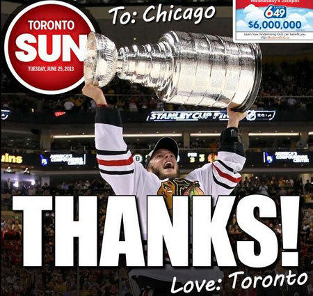 Toronto Sun Thanks Blackhawks For Exacting Revenge On Bruins