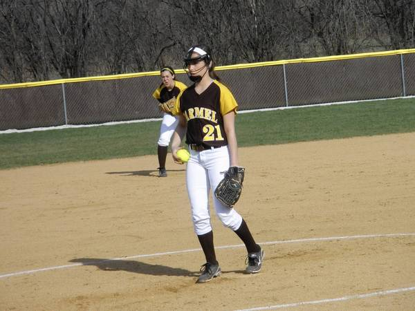 Pitcher Nicole Bitter. Shortstop Kathleen Felicelli in background.
