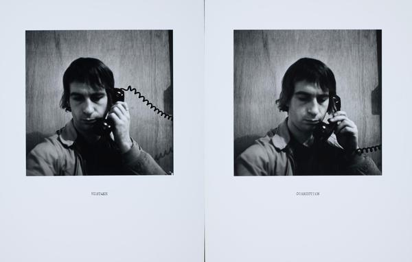 "William Wegman, ""Mistake/Correction,"" 1975/2011, silver gelatin print, 14 x 11 inches (each)."