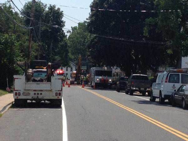 Union Street from North Main Street to Wood Lane was closed to traffic, and area homes were evacuated after a construction crew ruptured a natural gas line.