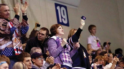 Fans cheer at a game during the Tomahawks' inaugural season in Johnstown.