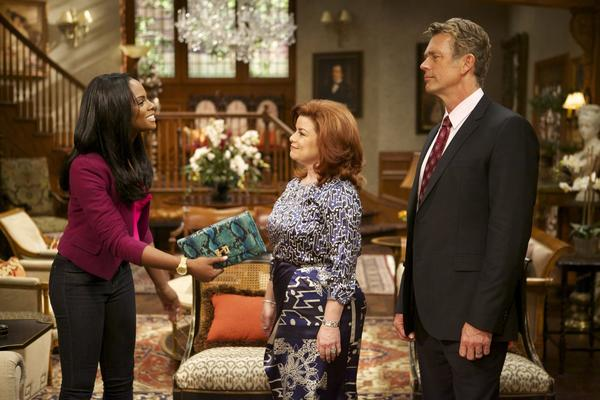 "Candace Young (Tika Sumpter), Katheryn Cryer (Renee Lawless) and Jim Cryer (John Schneider) from ""The Haves and the Have Nots."""