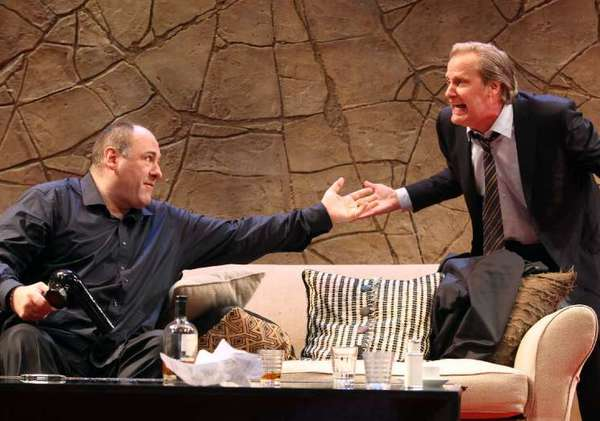 "James Gandolfini, left, and Jeff Daniels in ""God of Carnage,"" by Yasmina Reza, at the Ahmanson Theatre in Los Angeles in 2011."