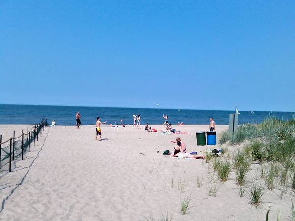 Beachgoers enjoy a summer day at Elmwood Dunes Preserve. Enforcement of the new regulations there is a work in progress, park officials say.