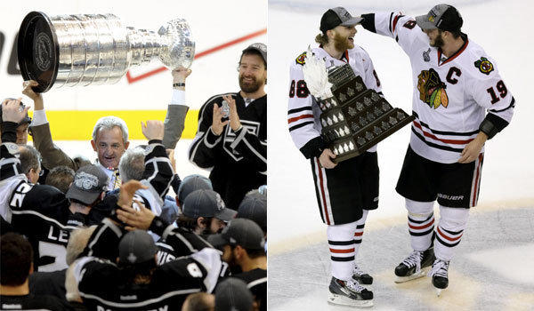 Coach Darryl Sutter and the Kings, left, celebrate with the Stanley Cup in 2012; Chicago's Patrick Kane is congratulated by Blackhawks teammate Jonathan Toews after winning the 2013 Conn Smythe trophy.