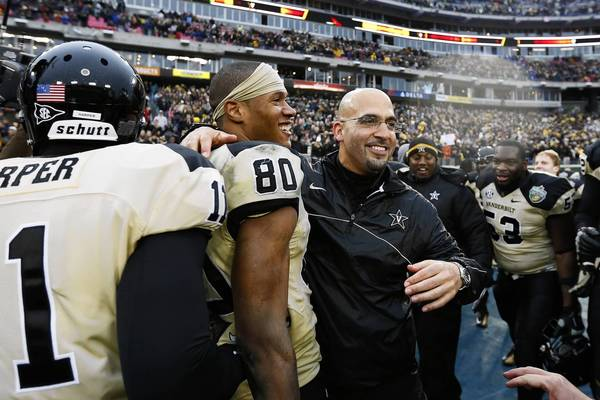Vanderbilt coach James Franklin celebrates his team's win over North Carolina State in the Music City Bowl.