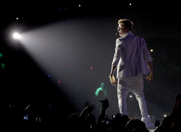 Justin Bieber performs at Staples Center on Monday.