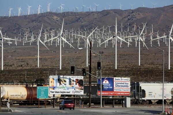 Windmills on Highway 58 near Barstow in the Mojave Desert. An enterprise zone in Barstow recently failed a state audit.