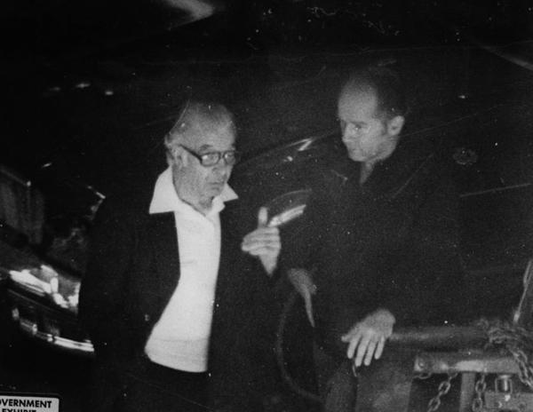 "Massachusetts State Police surveillance photo of James ""Whitey"" Bulger talking with former local mafia boss Gennaro Angiulo."