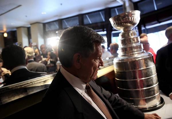 Rocky Wirtz, chairman of the Blackhawks, was part of the Stanley Cup tour of Chicago on Tuesday. Chicago beat Boston 3-2 for the NHL title on Monday.