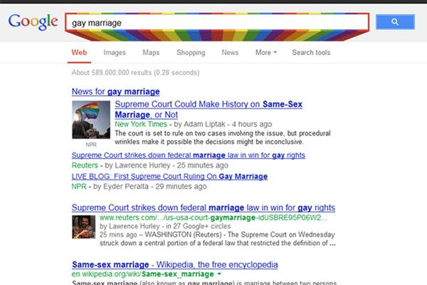Google has been celebrating gay pride in June with a rainbow search bar.
