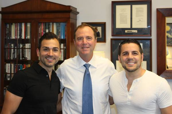 Rep. Adam Schiff met with Burbank residents Paul Katami, far left, and his partner Jeff Zarillo, at the capitol on Tuesday.