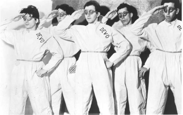 Devo, in an undated publicity photo. Drummer Alan Myers, second from left, died on Tuesday.