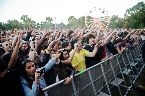 Fans cheer for Nas at the 2012 Virgin Mobile Free Fest at Merriweather Post Pavilion in Columbia.
