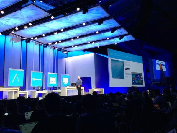 Microsoft CEO Steve Ballmer takes the stage at the company's developers conference in San Francisco.