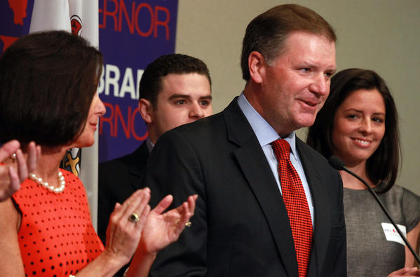Republican State Senator Bill Brady, flanked by family, wife Nancy, left, son Duncan, center back, and daughter Katie, kicks off his third campaign for governor.