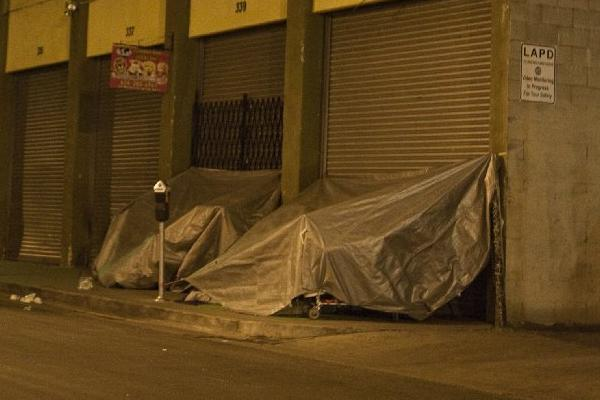 The skid row area of downtown Los Angeles.