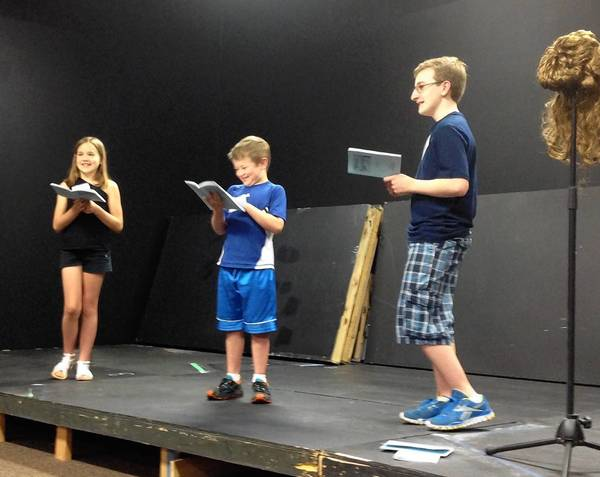 "Abby Skirmont, 11, Wes Skirmont, 10, and Max Micheli, 13, audition for Truckstop Chili, the summer production of the new ""Playhouse 38."""