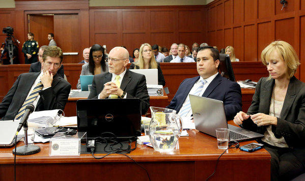Defense attorneys Mark O'Mara, left, and Don West, defendant George Zimmerman and attorney Lorna Truett listen to testimony Wednesday.