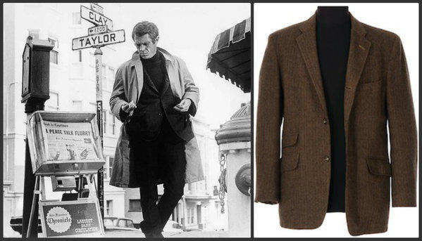 "A still from the 1968 Steve McQueen film ""Bullitt,"" left, and the tweed jacket McQueen wore in the film that is expected to fetch between $600,000 and $800,000 when it goes up for auction July 29*."