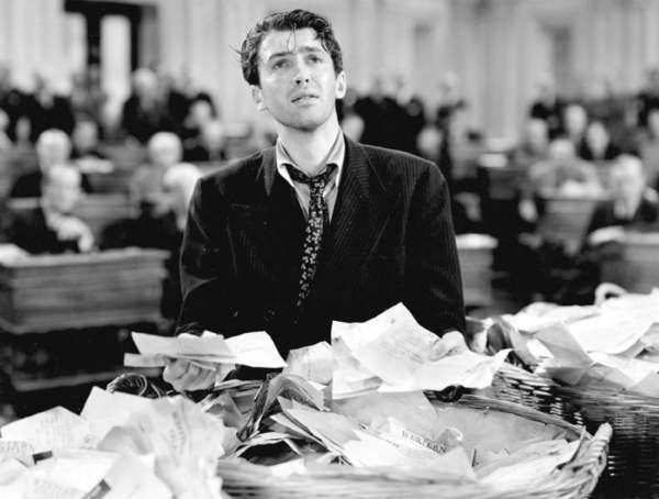 "Jimmy Stewart in Frank Capra's ""Mr. Smith Goes to Washington,"" a movie brought to mind by state Sen. Wendy Davis' filibuster against an anti-abortion bill in Texas"