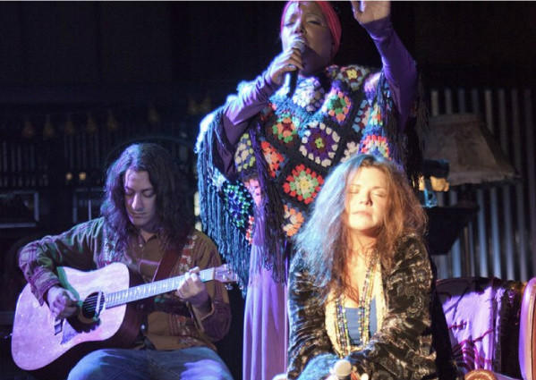 """Mary Bridget Davies, right, as the title character in the musical """"One Night with Janis Joplin,"""" which ran earlier this year at the Pasadena Playhouse and will reach Broadway this fall with the title """"A Night with Janis Joplin."""""""