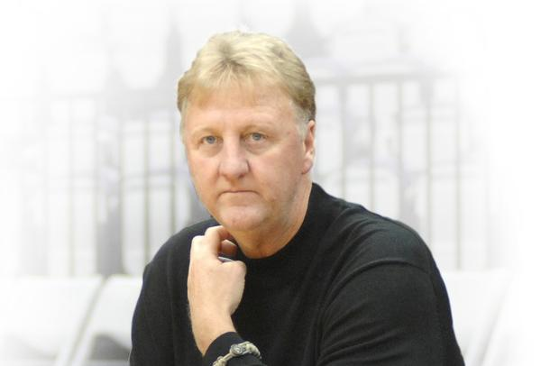 Larry Bird watches his team during a training session in Taipei on October 7, 2009.