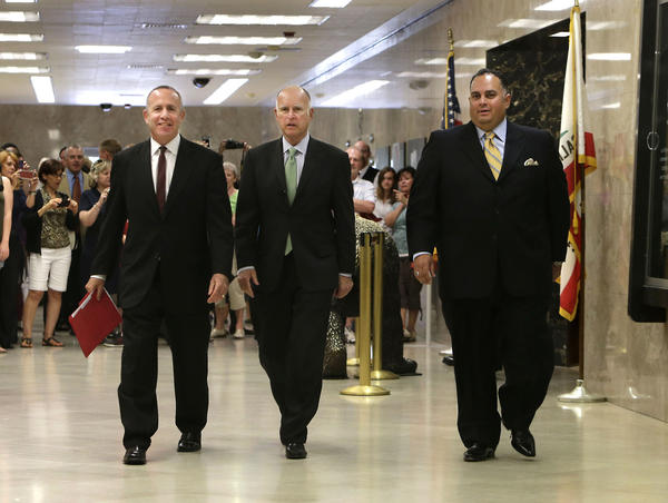 Senate leader Darrell Steinberg (D-Sacramento), Gov. Jerry Brown and Assembly Speaker John A. Prez (D-Los Angeles) walk to a Capitol news conference earlier this month to discuss a deal on the state budget.